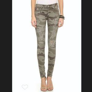 True Religion Halle Mid Rise Skinny Jeans Camo 25